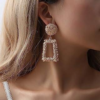 modern resin earrings contemporary stud circle square ORANGE oversized post earrings large geometric studs simple unisex earrings