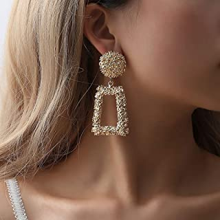 Doubnine Rectangle Geometric Metallic Earrings Indiana Boho Dangle Modern Earrings Wedding Bridal Jewelry for Women Girls (gold)