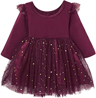 Curipeer Little Girl Casual Gauze Dress for Fall Long Sleeve Yarn Skirt Soft