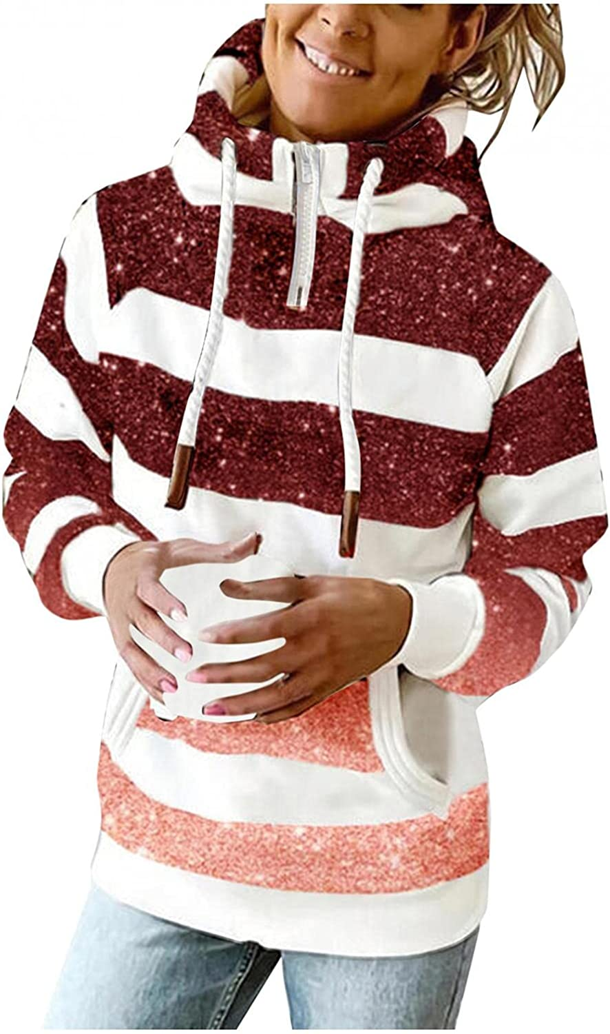 AODONG Hooded Sweatshirts for Women Casual Long Sleeve 1/4 Zipper Lightweight Loose Striped Hoodies Pullover with Pocket