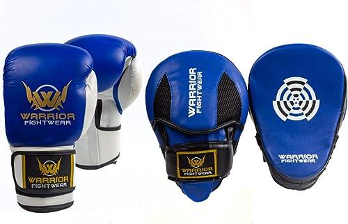 Warrior Fight Wear UK Ensemble de Gants de Boxe et tampons de Mise au Point Bleu 454 g