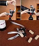 Cooko Kit de Abridor de Vino, Acero Inoxidable Rojo Vino Cerveza Abrebotellas Sacacorchos de Alas, Vino Aireador, Termómetro, Tapón, y Set de Accesorios Para con Oscuro Madera de Cerezo caso – 9 Piezas - 6