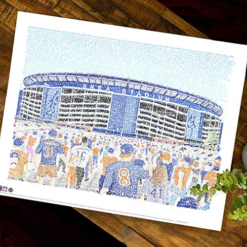 Shea Stadium Word Art - Handwritten with every Mets player through 2008 - New York Mets Gifts & Decor - New York Art Poster