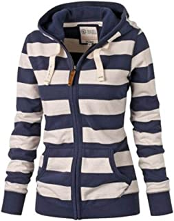 Guiran Women Casual Warm Cardigan Striped Zip Up Hoodies Sweatshirt Coat Jacket Outerwear