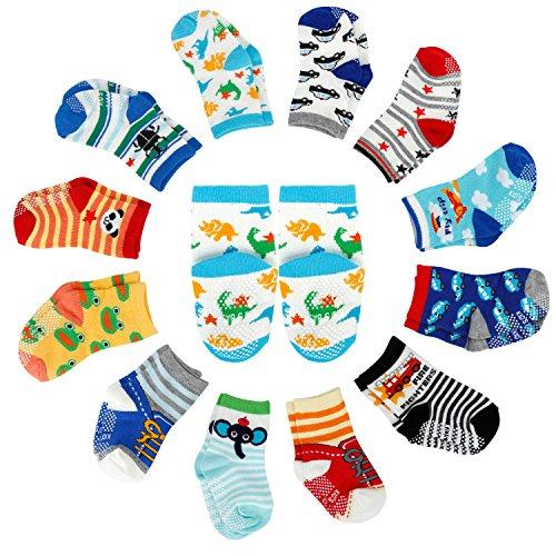 12er-pack Baby ABS Socken, Anti Rutsch Socken für 12-36 Monate Baby Mädchen und jungen, Schwarz-Weiß-Grau 12er-Pack