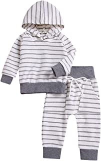 4d948c5d7b9 Toddler Infant Baby Boys Girls Striped Long Sleeve Pocket Hoodie Tops  Sweatsuit Pants Outfit Set (