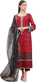 سروال حريمي بتصميم هندي أحمر أنيق من جورجيت بتصميم هندي أنيق فستان باكتاني مسلم 6092