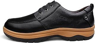 DIYHM Men's Plus Genuine Pebble Grain Leather Oxford Lace up Apron Toe Shoes Pull Tap Slip Resistive Oxfords Conciliatory