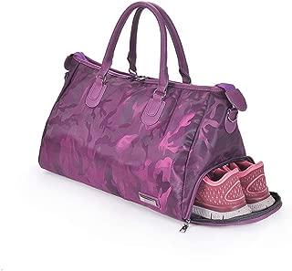 RuiXia Gym Bag - Outdoor Camouflage Purple Sports Bag Travel Duffle Bag Large Capacity Handbag Yoga Fitness Shoulder Bag with Shoes Compartment for Women, 403223CM Little Bag (Size : 403223CM)