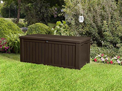 Koll Living Auflagenbox/Kissenbox 570 Liter l 100% Wasserdicht l mit Belüftung dadurch kein übler Geruch/Schimmel l Moderne Holzoptik l Deckel belastbar bis 250 KG (2 Personen) (Braun) - 5