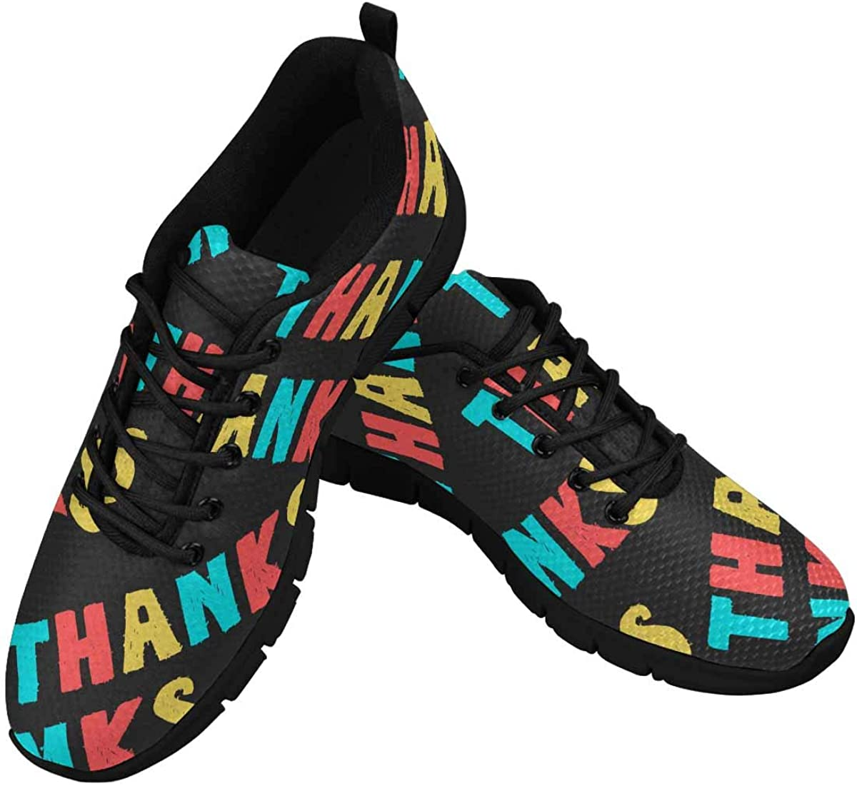 INTERESTPRINT Colorful Textual Pattern with Word Thanks Lightweight Mesh Breathable Sneakers for Women