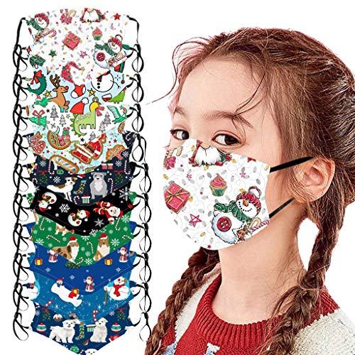 10 Stück Kinder Mundschutz Multifunktionstuch 3D Cartoon Druck Maske Animal Print Atmungsaktive Baumwolle Stoffmaske Waschbar Mund-Nasenschutz Tiermotiv Bandana Halstuch Jungen Mädchen (M-10PC)