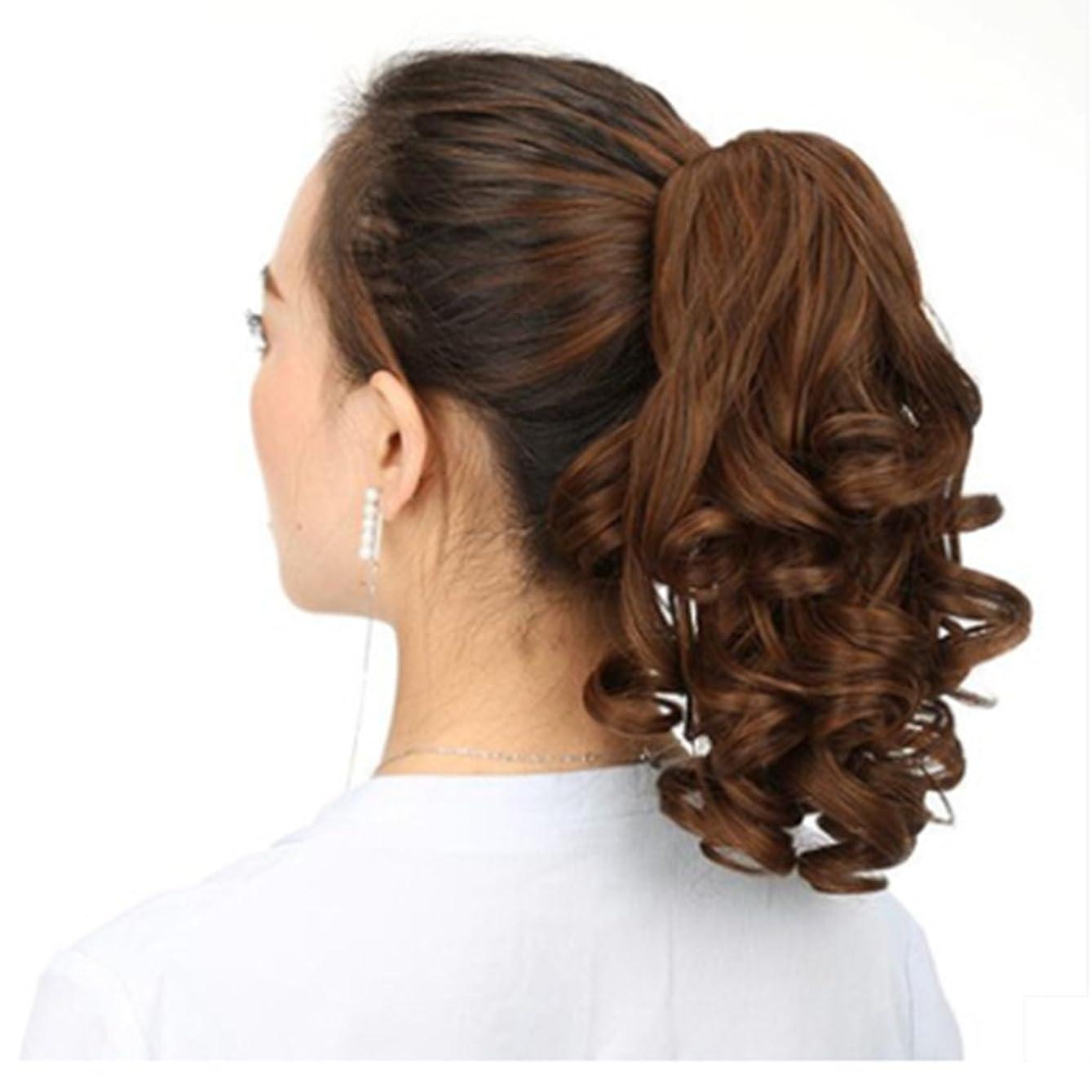 子供達散髪シャトルDoyvanntgo クリームウィッグポニーテールヘアエクステンション現実的な合成ヘアピース90g (Color : Linen)