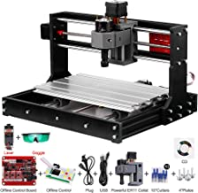 Anself 5500mw Upgrade CNC 3018 Pro GRBL Control DIY Mini CNC Machine 3 Axis Pcb Milling Machine Wood Router Engraver with Offline Controller with ER11 and 5mm Extension Rod Working Area 300*180x40mm
