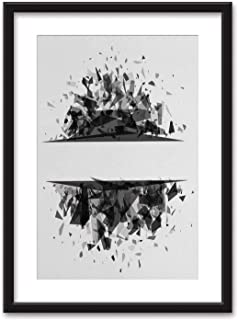 Abstract Banner Explosion Cloud Shards on White Background Black Paper Framed Canvas Wall Art,044902 for Home Decoration Ready to Hanging,16''x20''