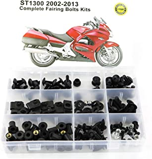 Xitomer Full Sets Fairing Bolts Kits, for HONDA ST1300 2002 2003 2004 2005 2006 2007 2008 2009 2010 2011 2012 2013, Mounting Kits Washers/Nuts/Fastenings/Clips/Grommets (Matte Black)