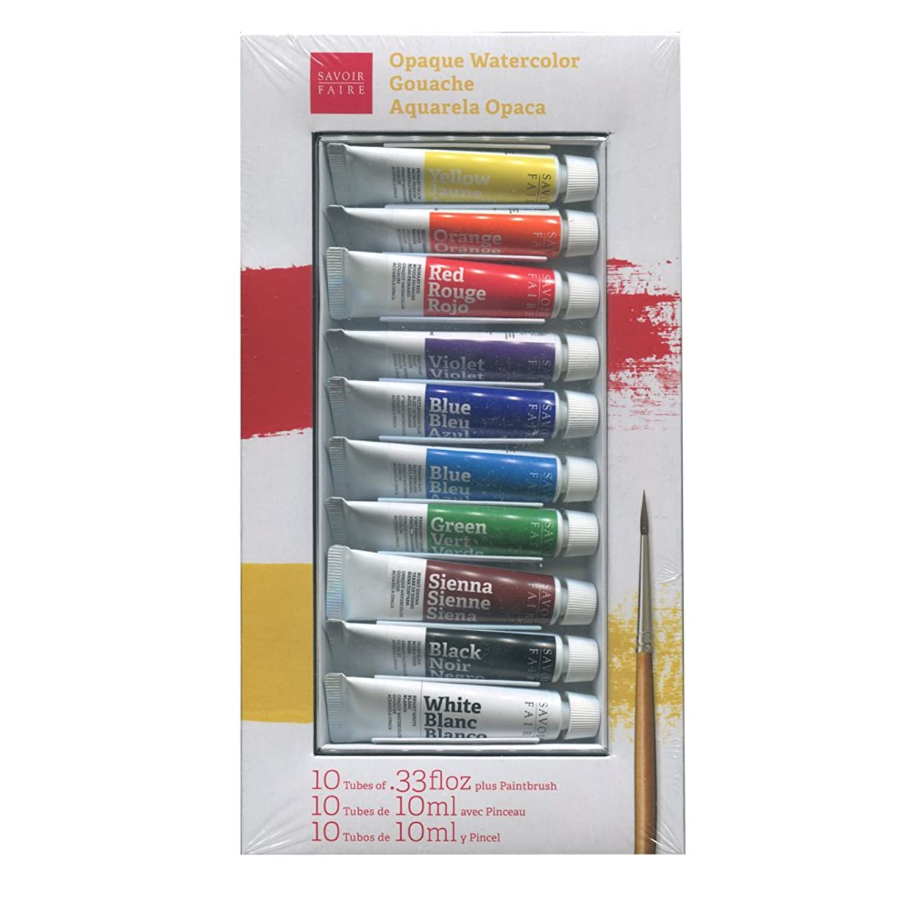Savior-Faire The French School Opaque Watercolor Gouache Tube Sets set of 10 in case with brush