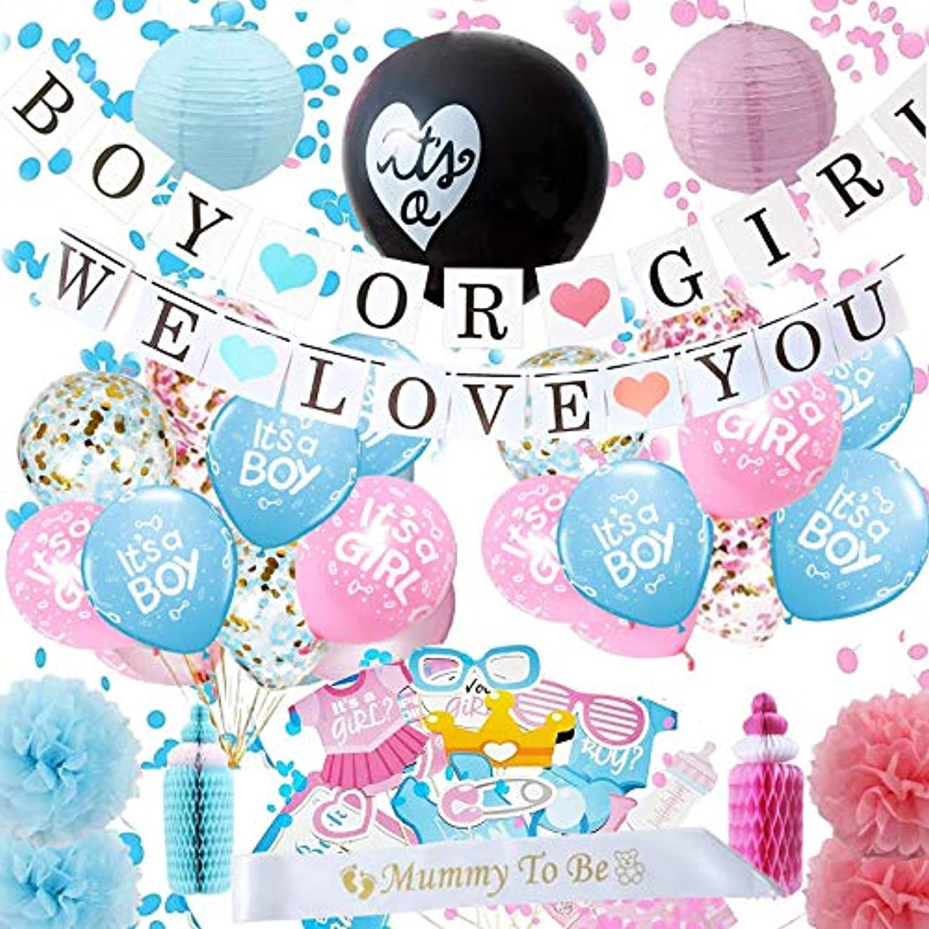 Baby Gender Reveal Party Supplies, Boy or Girl Party Decorations Kit With Black Balloon And Pink Or Blue Confetti, Photo Props, Pom Poms, Paper Lanterns, Pink and Blue Balloons, Transparent balloons with blue and pink confett