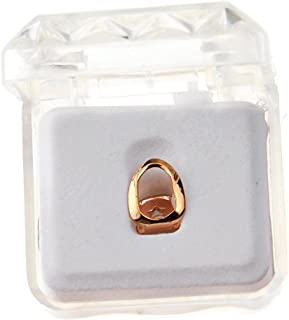 Open Face 14k Rose Gold Plated Grillz Single Hollow Cap One Top Tooth Hip Hop Grills