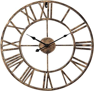 YJIUJIU Large Metal Roman Numeral Wall Clock - Silent Non-Ticking Decorative Wall Clock for