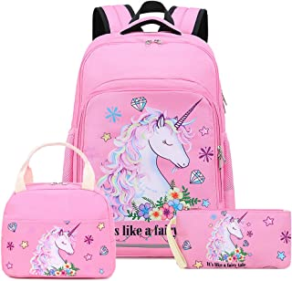 Girls Backpack for Kids Elementary Bookbag Girly School Bag with Insulated Lunch Tote and Pencil Pouch for Children (Light Pink - 3 Pices)