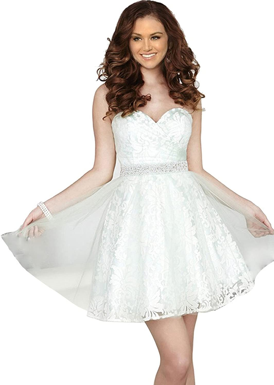 JoyVany 2016 Lace Applique Short Bridesmaid Dresses with Beaded Belt