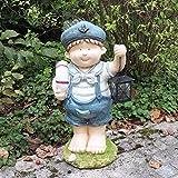 Unibest Gartendeko Gartenzwerg Maritime Jungefigur im Matrosenanzug mit Laterne