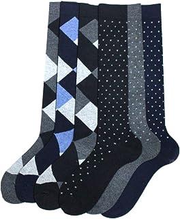 SaL90, 6 pares de calcetines largos para hombre de algodón cálido – El juego consta de dos diseños = rombos y flores – Fabricados con costuras finas sin estrés