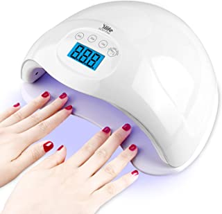 Nail Gel Light,48W UV LED Nail Lamp for Both Hands, Portable Nail Dryer with 4 Timers,Automatic Sensor, LCD Screen,Gel Nail Polish Curing Lamp for Fingernails and Toenails, White