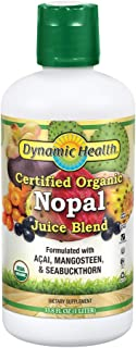 Dynamic Health Certified Organic Nopal Blend Juice | with acai, Mangosteen & Seabuckthorn | Vitamins & Amino Acids | Vegetarian, Gluten-Free | 33.8oz