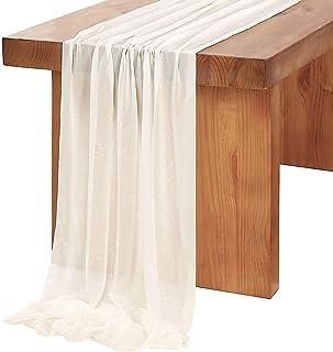مفرش طاولة من الشيفون العاجي مقاس 68.58 سم × 300.48 سم من الشيفون على شكل حرف D لحفلات الزفاف والزفاف والزينة على شكل قوس