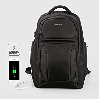 Travel Computer Bag, JSDL 15.6 inch Laptop and Notebook Backpack with USB Port Charger,School Computer Bag for Women & Men,Anti Theft Water Resistant Book Bag,Slim Business Black
