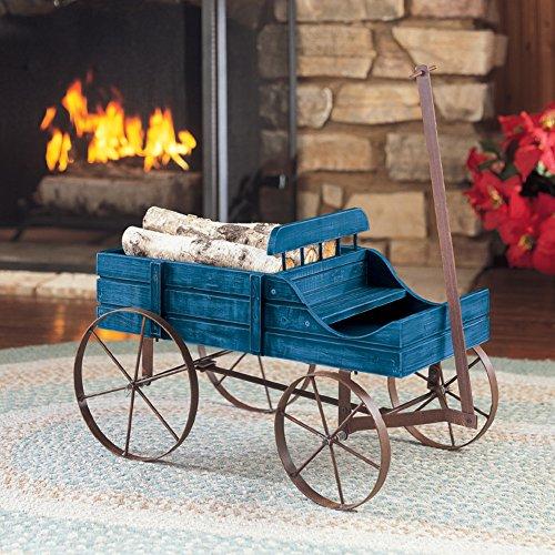 Amish Wagon Decorative Indoor/Outdoor Garden Backyard Planter, Blue