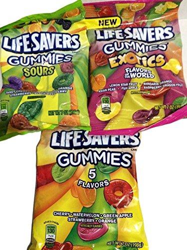 Lifesavers Gummies, Exotics, Sours and Original Flavors 7oz 3 Bags