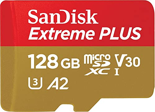 SanDisk Extreme Plus 128GB microSDXC Class 10 Speicherkarte mit SD-Adapter, Gold/Rot product image