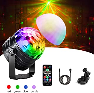 Disco Lights, Ibesi 4-Colour RGBP Sound Activated Disco Ball Lights with Remote Control 4M USB Cable 5W Low Voltage Strobe DJ Stage Light for Kids Car Dance Party Birthday Christmas Bar Club Karaoke