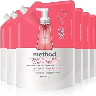 Method Foaming Hand Soap Refill, Pink Grapefruit, 28 Fl Oz, Pack of 6