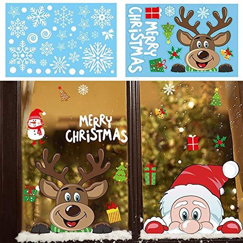 BLOUR Weihnachten Weihnachtsmann Schneeflocke Aufkleber Fenster Aufkleber Winter Wandaufkleber für Kinderzimmer Neujahr Weihnachten Fenster Dekorationen