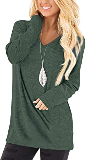 Tunic Tops for Women Long Sleeve Deep V Neck Shirts