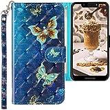 CLM-Tech Hülle kompatibel mit Motorola Moto G7 Play - Tasche aus Kunstleder - Klapphülle mit Ständer & Kartenfächern, Schmetterlinge blau lila Gold