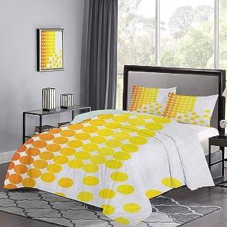 Yoyon Juego de Colcha de Composición Abstracta con Puntos Ombre Manchas Colores Vibrantes Funda nórdica con Estampado Moderno para Mujeres y Hombres Dormitorio Naranja Amarillo Blanco