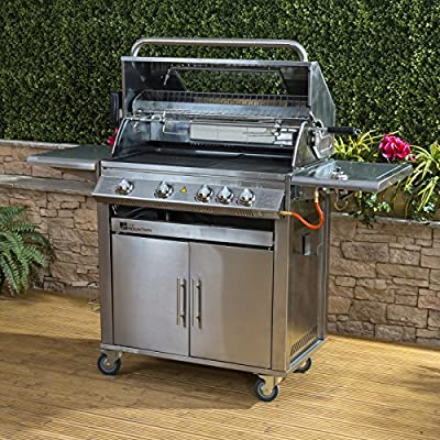 Premier 4 Burner Gas Barbecue - Stainless Steel, Side Burner, Cast Iron Grill & Hot Plate, Rotisserie from Fire Mountain