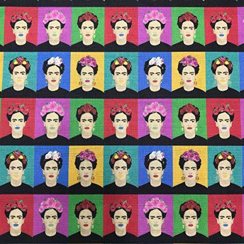 Kt KILOtela Tela de Patchwork - Estampación Digital - 100% algodón - Retal de 50 cm Largo x 140 cm Ancho | Frida Warhol - Multicolor ─ 0,50 Metro