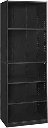FURINNO 14110R1BKW 5-Shelf Bookcase, 5-Tier, Black