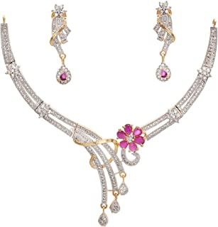 Geode Delight American Diamond Cz Gold-Plated Necklace Set For Women