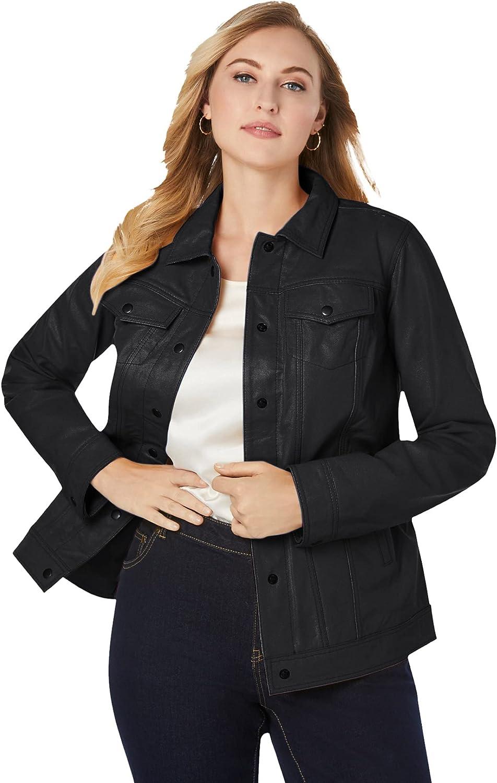 Jessica London Women's Plus Size Denim Style Leather Jacket Soft Calfskin Trucker Jacket