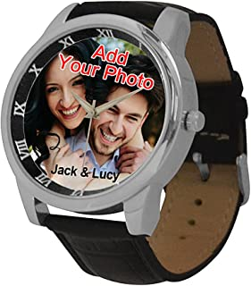 Custom Watches for Men with Photo Personalized Gift for Boy Friend,Leather Band