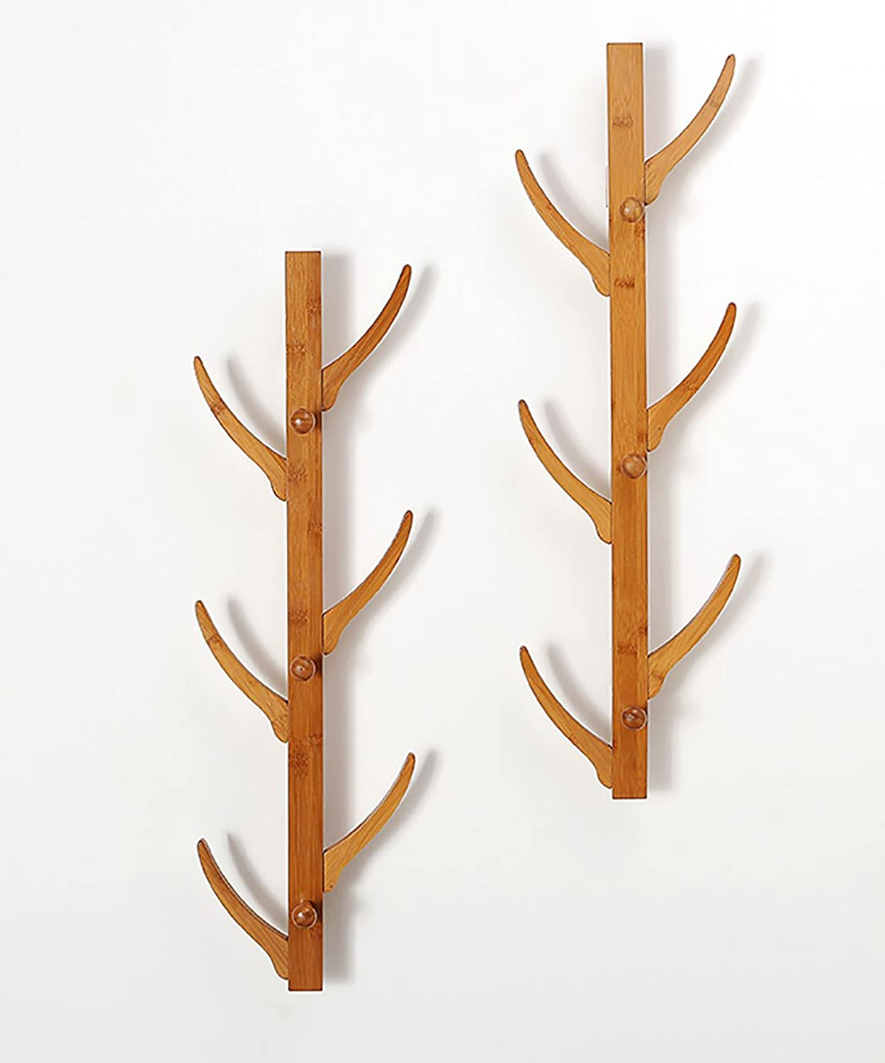 QIANGDA Coat Hat Rack Wall-Mounted Bamboo with 6 8 Hooks, 2578cm 25100cm (9.829.5 inches 9.839.4 inches) Optional (Size   78cm-2 Pieces)