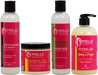 Mielle Organics Detangling Co Wash & Babassu Oil Conditioner & Hair Milk 8oz & Styling Gel 13oz