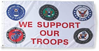 American Wholesale Superstore WE Support Our Troops Flag 3x5 ft Seals US Army Navy Air Force Marines Coast Gd 3'x5' Premium Quality Heavy Duty Polyester Indoor Outdoor Flag